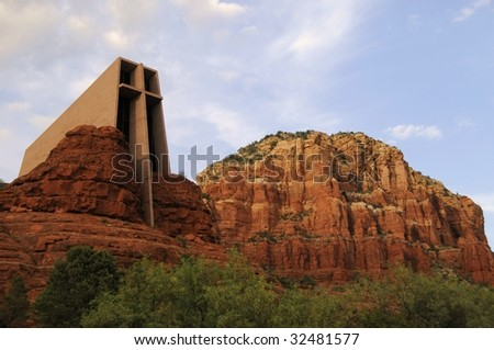 Chapel of the Holy Cross built within the red rock formations in Sedona Arizona - stock photo