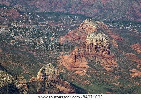 Chapel of the Holy Cross from above in spectacular Sedona, Arizona - stock photo