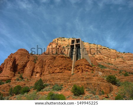 Chapel of the Holy Cross in Sedona, Arizona. The Chapel of the Holy Cross is a Roman Catholic chapel built into the mesas of Sedona which was inspired by sculptor Marguerite Brunswig Staude - stock photo