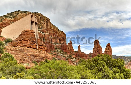 Chapel of the Holy Cross in Sedona Arizona with the rock formation called Madonna and Child - stock photo