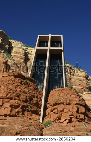 Chapel of the Holy Cross on the red rock cliffs of Sedona Arizona - stock photo