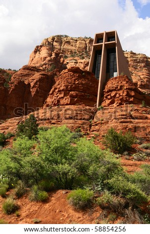 Chapel of the Holy Cross on top of red mountains in Sedona, Arizona, U.S.A. - stock photo