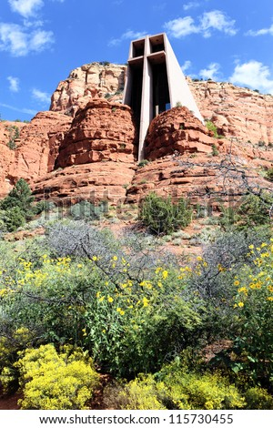 Chapel of the Holy Cross set among red rocks in Sedona, Arizona - stock photo