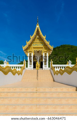 Chapel  of Wat Thipsukhontharam temple, Kanchanaburi province,Thailand, Phra Buddha Metta,They are public domain or treasure of Buddhism