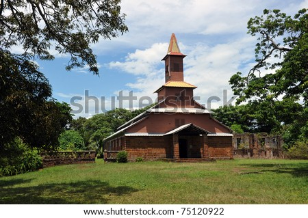 Chapel on Ile Royale, French Guiana Devil islands. This wooden church vas built by the prisoners. Traces of paintings made by Lagrange are still visible on the walls.  Lagrange was incarcerated here. - stock photo