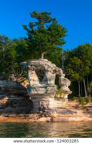 Chapel Rock in Pictured Rocks National Shore, lake Superior - stock photo