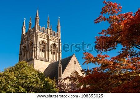 Chapel tower of Merton College. Oxford University, Oxford, England - stock photo