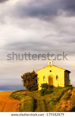 chapel with lavender field, Plateau de Valensole, Provence, France - stock photo