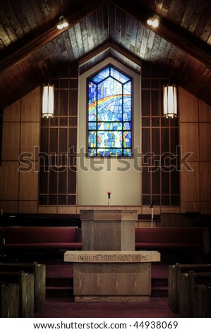 chapel with podium - stock photo