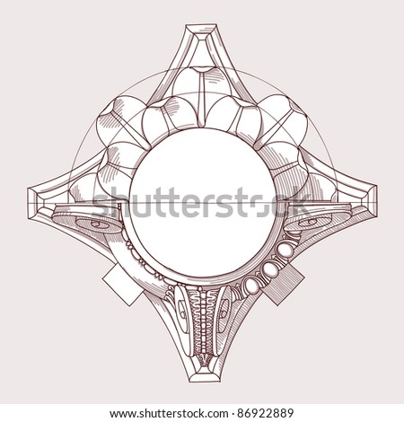 Chapiter- hand draw sketch composite architectural order. Bitmap copy my vector ID 84869272 - stock photo