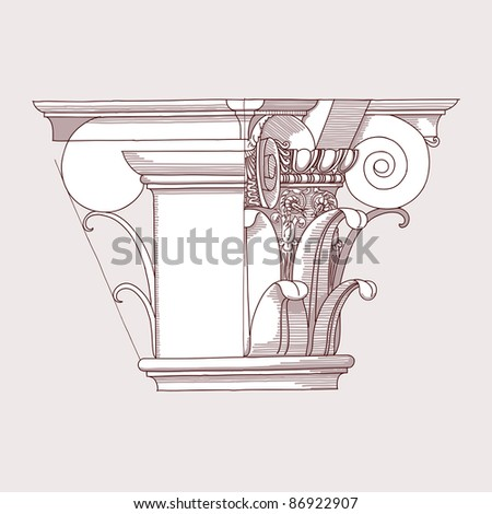 Chapiter- hand draw sketch composite architectural order. Bitmap copy my vector ID 84869278 - stock photo