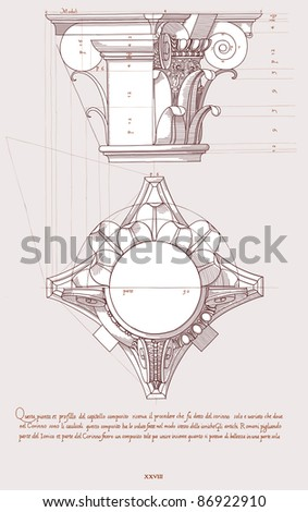 Chapiter- hand draw sketch composite architectural order. Bitmap copy my vector ID 84869275 - stock photo