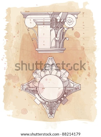 Chapiter- hand draw sketch composite architectural order & vintage watercolor background. Bitmap copy my vector id 87989053 - stock photo