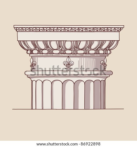 Chapiter- hand draw sketch doric architectural order. Bitmap copy my vector ID 84869047 - stock photo