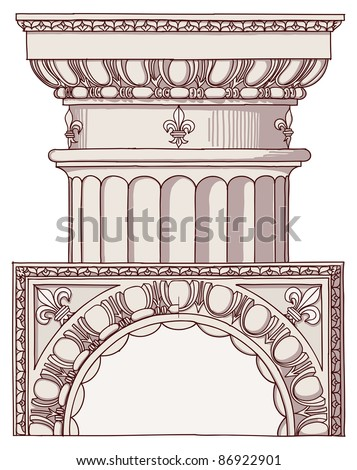 Chapiter- hand draw sketch doric architectural order. Bitmap copy my vector ID 84868279 - stock photo