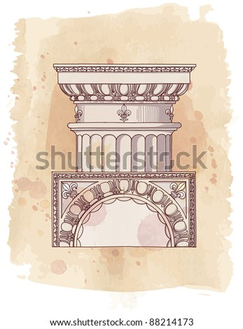 Chapiter- hand draw sketch doric architectural order & vintage watercolor background. Bitmap copy my vector id 87989065 - stock photo