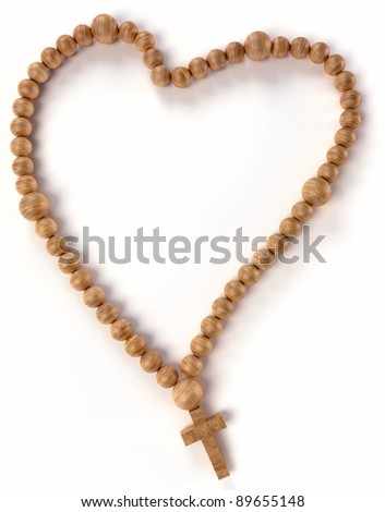 Chaplet or rosary beads heart shape over white background - stock photo