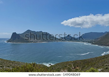 Chapman's Peak Drive. View to part of beautiful Hout bay coastline. Table Mountain National Park, Cape town. - stock photo