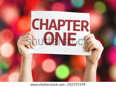 Chapter One card with colorful background with defocused lights - stock photo