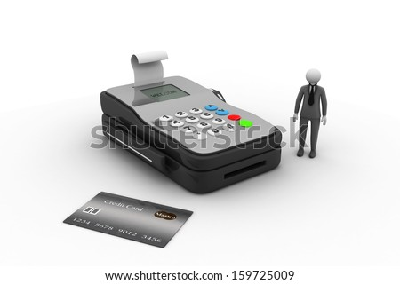 character and credit card reader - stock photo