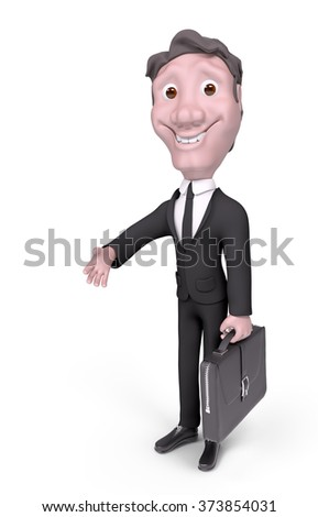 Character businessman with briefcase giving his hand for handshake isolated 3d rendering - stock photo