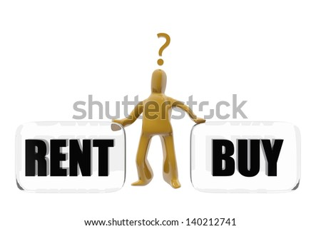 Character deciding whether to buy or rent - stock photo
