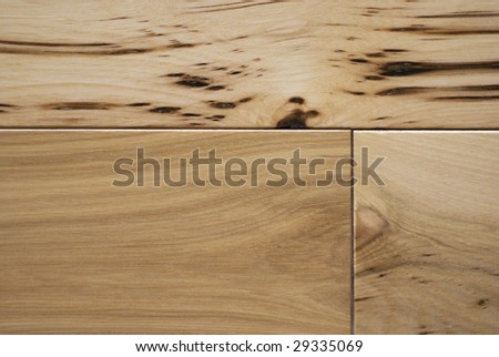 Character grade hickory flooring macro/close up. - stock photo