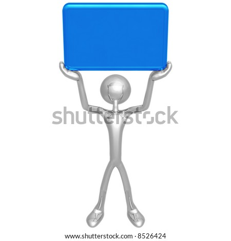 Character Holding Up A Blank Sign - stock photo