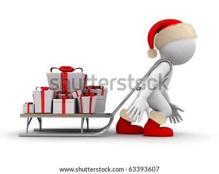 Character is carrying sleigh with presents - stock photo
