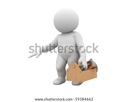 character is holding toolbox with tools - stock photo