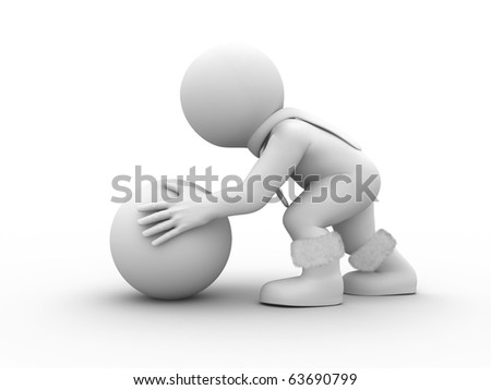 character is making huge snow ball - stock photo