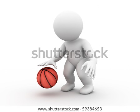 Character is playing basketball - stock photo