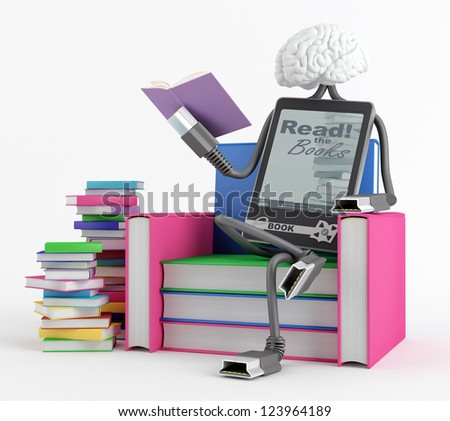 Character is sitting in the chair of the books and reading a book - stock photo
