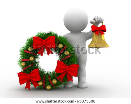 character is standing by huge christmas wreath - stock photo