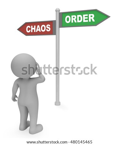 Character Looking At Chaos Order Signpost Shows Confusion And Mayhem 3d Rendering