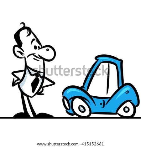 Character man car cartoon illustration