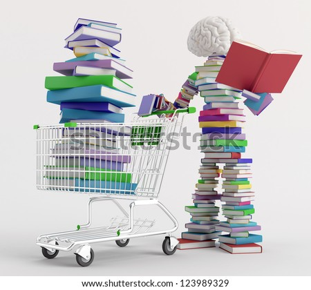 Character reading a book next to a cart full of books - stock photo