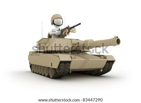 Character riding Tank - stock photo