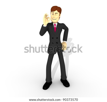 character saying ok - stock photo
