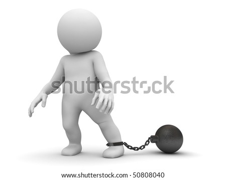 character shackled in shackle - stock photo