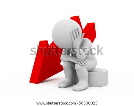 character sitting in sad pose near red arrow - stock photo