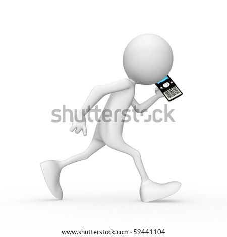 Character speaks on telephone. 3d image isolated on white background. - stock photo