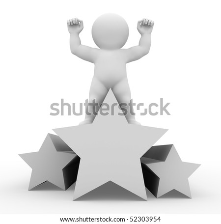 Character standing on a star - stock photo