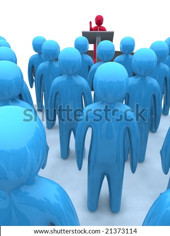 Character standing on platform and speaking. This image is 3d render. - stock photo