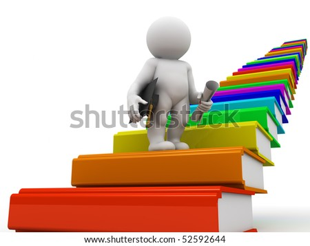 character standing on the book's stairway - stock photo