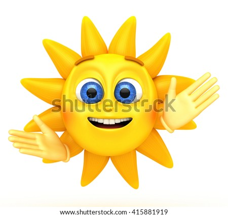 Character sun on a white background. 3d rendered illustration. - stock photo