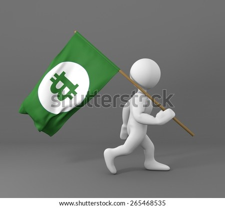 Character walking and holding a bit coin symbol green flag on a gray background 3d illustration - stock photo