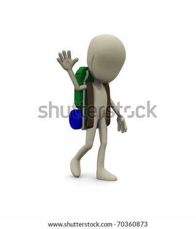 character waving with backpack