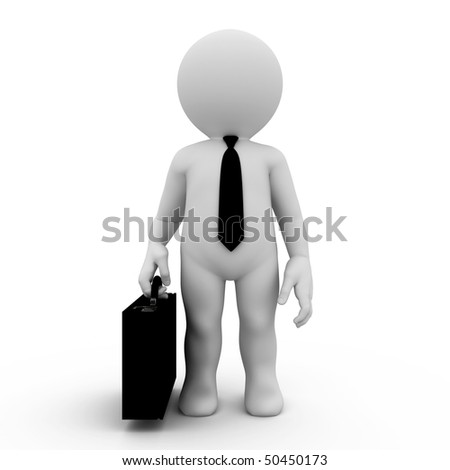 character wearing in tie and holding case - stock photo