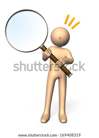 Character who has a large magnifying glass. He represents interest and curiosity. - stock photo